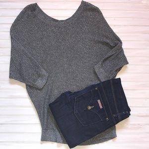 Express grey/silver dolman sweater